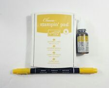 Stampin Up Crushed Curry Ink Pad, Refill & Write Dual Tip Brush Pen New