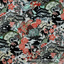 BonEful FABRIC FQ Cotton Quilt B&W Anime Japan Asian Flower Chinese Girl Cartoon