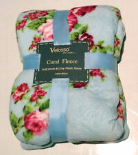 SOFT WARM & COSY DUCK EGG BLUE PINK ROSE FLORAL THROW BLANKET HOME DECOR