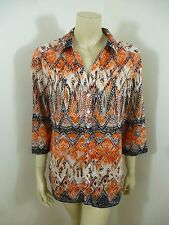 Chico's Multi-Color 3/4 Sleeve Woman Top Blouse Shirt Size 2