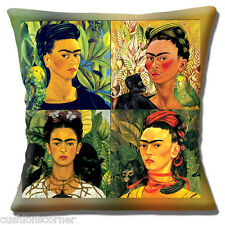 "FRIDA KAHLO MEXICAN FOLKLORE MONTAGE CAT MONKEY BIRD 16"" Pillow Cushion Cover"
