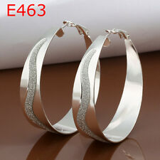Fashion Accessories 925Sterling Silver Sandy S Circle Hoop Earrings GE463+BOX