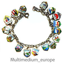 altes Bettel armband 800 Silber Wappen Anhänger Emaille emailliert enamel charms