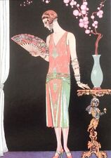 Art Deco Repro Mounted Print 'Worth Evening Dress' by Georges Barbier
