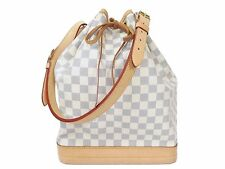 100% Authentic Louis Vuitton Damier Azur Noe Shoulder Bag Popular White S893
