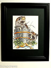RACCOON PICTURE RACCOON IN WOOD BUCKET FROG MATTED FRAMED 11X14
