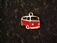 Rot/Silberner Metall -  Kettenanhänger  VW Bus / BULLY ca. 2 mal 1,9 cm / NEU