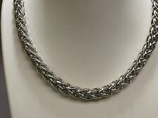 "Sterling Silver Basket Rope Round Wheat Link Chain Necklace 18"" 40 grm"