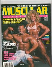 MUSCULAR DEVELOPMENT muscle magazine/SHAWN RAY & LAURA CREAVALLE w/poster 6-90