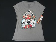 NWT ED HARDY IN MEMORY OF LOVE GLITTERY SKULLS & ROSES LARGE GRAY T-SHIRTS E1540