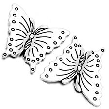 100pcs Tibetan Silver Tone Alloy Cute Butterfly Charms Spacer Beads Findings BS