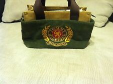 Tommy Hilfiger Green/Tan Corduroy Tote Bag Purse with Crest