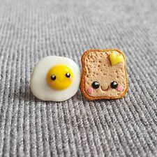 Handmade Polymer Clay Easter Outfit Eggs on Toasts Funny Kawaii Earrings Jewelry