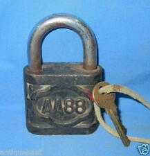 Vintage Old Collectible Hand Crafted Solid Iron Made AA88 Engraved Padlock & Key