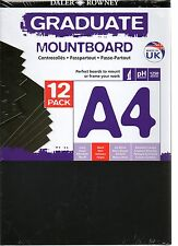 12 SHEETS DALER ROWNEY A4 BLACK MOUNT BOARD PICTURE PHOTO BACKING MOUNTING FRAME