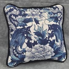 MINI Accent Pillow made w Ralph Lauren Nanking Dragon Navy Blue & White Fabric