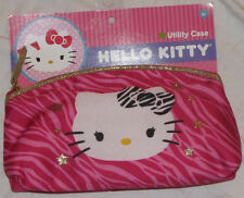 HELLO KITTY PURSE UTILITY CASE HANDBAG GIRLS ACCESSORIES WALLET PINK GOLD ZIPPER