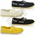 WOMENS LADIES FLAT ESPADRILLES CANVAS BOAT SLIP ON PLIMSOLES PUMP DECK SHOE SIZE