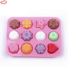12 Cavity Flower Silicone Soap Mold Cookie Cake Candy Chocolate Baking Mold