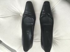 Womens - PRADA - Classic Black Low Heel Leather Pumps Sz 6