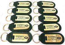 10 x Land Rover  Dealership Key Rings Green Leather With Gold Plate & Enamel