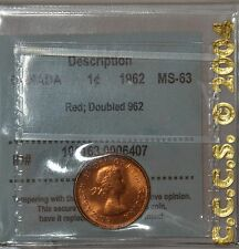 "CANADA 1 cent 1962 certified MS-63, Red -Doubled ""962"" by CCCS - Zoell #R86c"