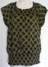 MICHAEL MICHAEL KORS Black Yellow Chain Peasant Top L NWT Womans (MSRP $99.50)