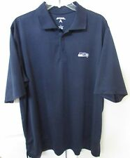 NFL Seattle Seahawks Golf Polo Shirt by Antigua Large Navy Blue EUC