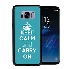 Turquoise Keep Calm and Carry On For Samsung Galaxy S8 2017 Case Cover by Atomic