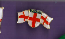 England - Two Flags and a Sheild  - Acrylic Metal Lapel Badge