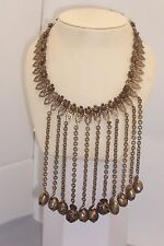 Vintage Big Bold Metal Dangle Flower Book Chain Brass Bib Necklace