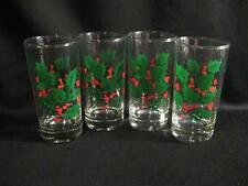 CHRISTMAS HOLLY GLASSES - FOUR - PART OF ROYAL GALLERY HOLLY SET