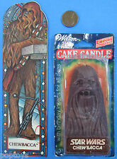 "School supply LOT of 2 '80s vtg Star Wars CHEWBACCA Bookmark 3.5"" CAKE CANDLE"