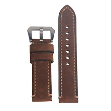 WEONE 22mm Brown Vintage Genuine Leather Watch Strap Watchband Wristwatch Band w