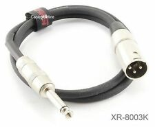 """3ft. Kirlin XLR 3-Pin Male / 1/4"""" Mono Male Shielded OFC Microphone Cable"""