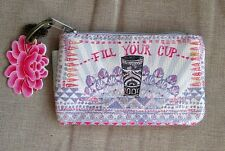 Pink Purple Fill Your Cup Coffee Papaya Art Coin Purse Vegan Small Mini Wallet