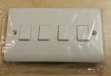 4 Gang 2 Way Light Switch White Plastic Double Beveled