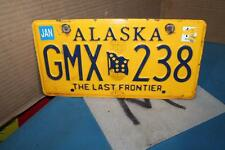 EXPIRED ALASKA 2010 LICENSE PLATE THE LAST FRONTIER GMX 238 YELLOW FLAG