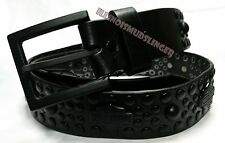 Men's Harley Davidson Studded Blackout Bar & Shield Leather Belt Size 38 #10031
