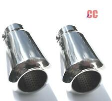 Car van chrome tail pipe Exhaust box Tip Extension Pipe Trim cover large PAIR