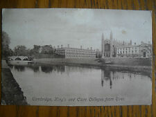 Vintage Post Card Cambridge Kings & ClareColleges from River by F.Frith Co.Ltd