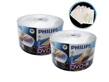 100 16X Philips Logo Blank DVD-R DVDR Disc 4.7GB + 100 Paper Sleeve with Window