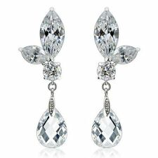 Elongated Zircon Crystal Women's Dangling Fashion Earrings Pair Great for Gifts