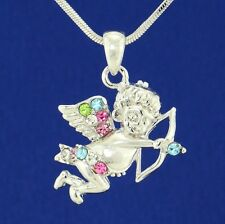"W Swarovski Crystal Angel Cupid Guardian Bow Arrow Multi Color Pendant 18"" Chain"