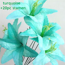turquoise artificial flower head imitatiion silk tiger lilies Hawaii green 20pcs