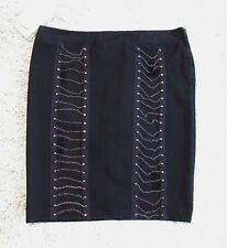 NWT VERSACE JEANS COUTURE BLACK DENIM DESTROYED CHAIN STUD PENCIL SKIRT 28/42