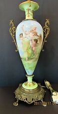 Huge Gorgeous Antique French Limoges/Sevres Lamp- Pastel Colors w Muse & Putti's