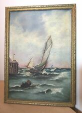 antique 19th century original nautical sail boat ship oil painting on canvas