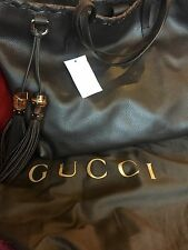 New!! Gucci LARGE  Leather Handbag Tote W Bamboo Tassels Brown BRAND NEW 354666
