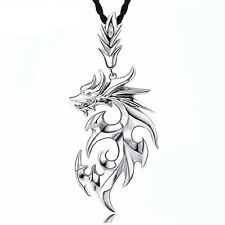 Fashion Men Silver Dragon Stainless Steel  Pendant Leather Chain Necklace CX110